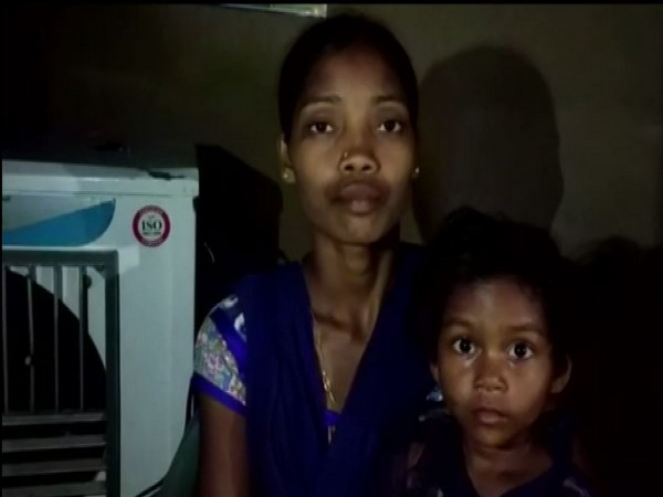 Wife of security personnel Kadti Mukesh who lost his life in a Naxal encounter in 2018. Photo/ANI