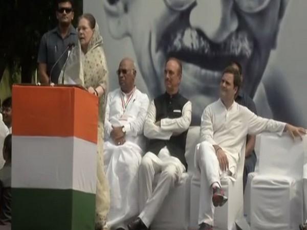 Congress interim president Sonia Gandhi addressing a gathering at Rajghat on Wednesday. (Photo/ANI)