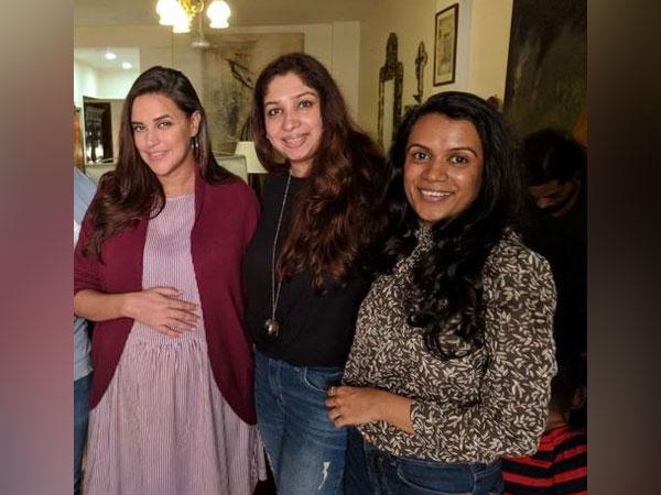 Sonya V Kapoor & Amrita Mendonza along with Neha Dhupia for a brand shoot