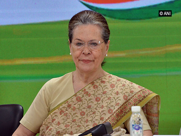 Congress President Sonia Gandhi at a meeting at party headquarters on Thursday.