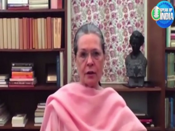 Congress interim President Sonia Gandhi in a video message on Friday. [Photo/ANI]