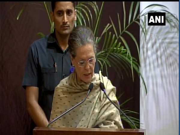 Sonia Gandhi speaking at the Indira Gandhi Prize for Peace, Disarmament and Development ceremony