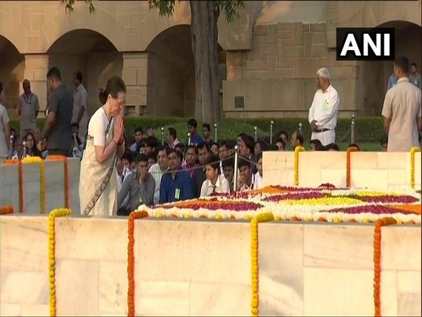 Congress interim president Sonia Gandhi at Raj Ghat on Wednesday. Photo/ANI