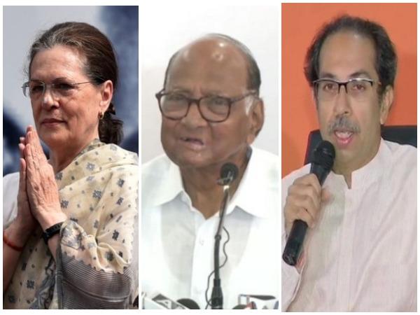 Congress interim president Sonia Gandhi, NCP chief Sharad Pawar and Shiv Sena chief Uddhav Thackeray. (File photo)