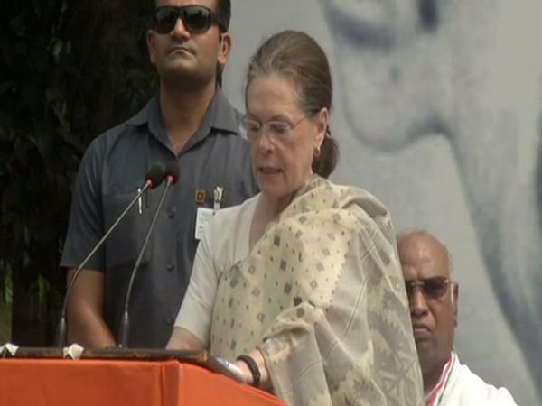 Congress interim president Sonia Gandhi speaking at the Rajghat on Wednesday. Photo/ANI