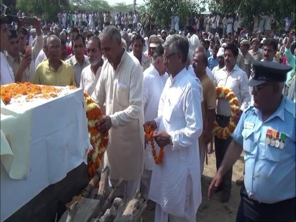 The cremation of LAC Pankaj Sangwan took place at his native place in Haryana. Photo/ANI