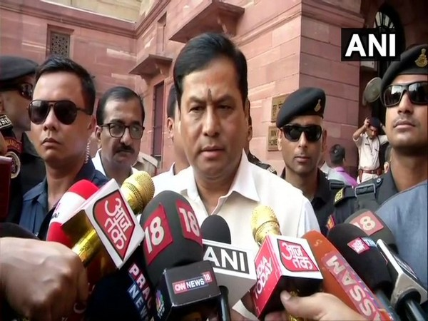 Assam Chief Minister Sarbananda Sonowal speaking to reporters in New Delhi on Monday. [Photo/ANI]