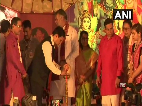Assam Chief Minister Sarbananda Sonowal and Union Minister Prahlad Singh offered prayers at Ambubachi Mela in Guwahati on Friday. Photo/ANI