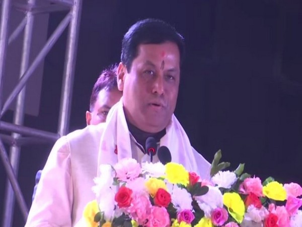 Assam Chief Minister Sarbananda Sonowal speaking at an event in Guwahati on Sunday. Photo/ANI