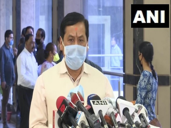 Assam Chief Minister S Sonowal speaking to media in Guwahati on Tuesday. Photo/ANI