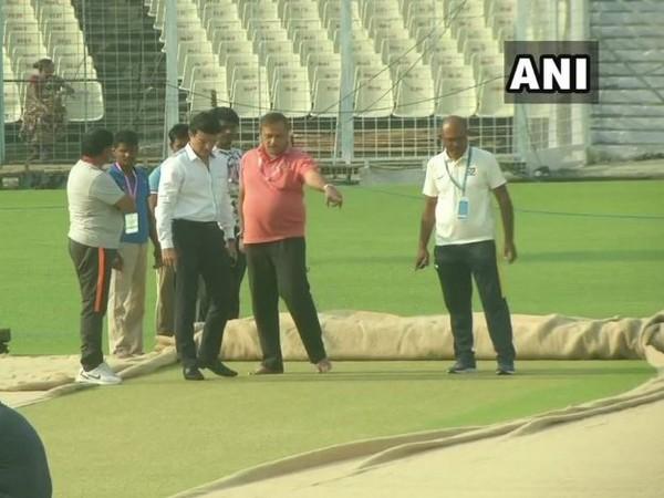 BCCI president Sourav Ganguly inspects Eden Garden pitch on Wednesday.