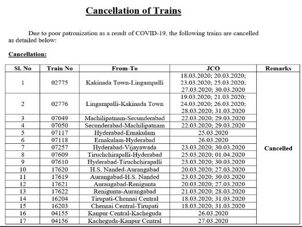 The list of trains which have been cancelled. Photo/ANI