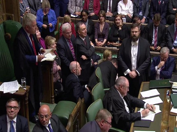Speaker John Bercow announcing the result of the vote on the Brexit deal delay at the House of Commons in London on Saturday.