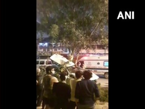 Delhi: A speeding car fell off Vikaspuri Flyover after its driver lost control and hit another car (Photo/ANI)