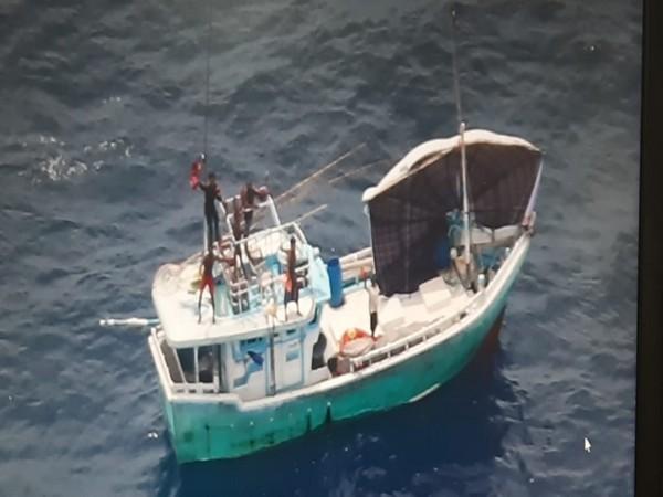 Indian Coast Guard ship Rajkamal rescued six Sri Lankan fishermen during a sea-air coordinated operation during a sea-air coordinated operation on Saturday. (Photo/ANI)