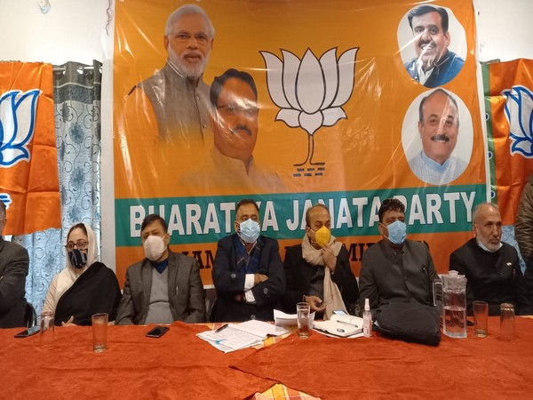 A visual from the BJP meeting in Srinagar on Tuesday. Photo/ANI