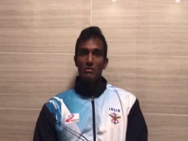 Indian Tennis player Sriram Balaji speaking to ANI in Wuhan on Saturday.