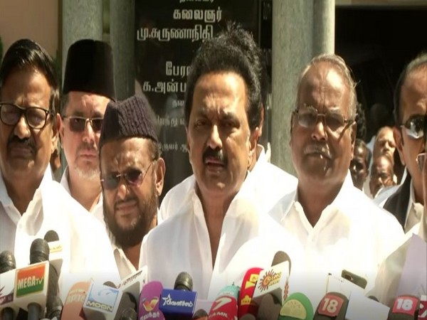 DMK chief MK Stalin speaking to reporters in Chennai on Friday. Photo/ANI