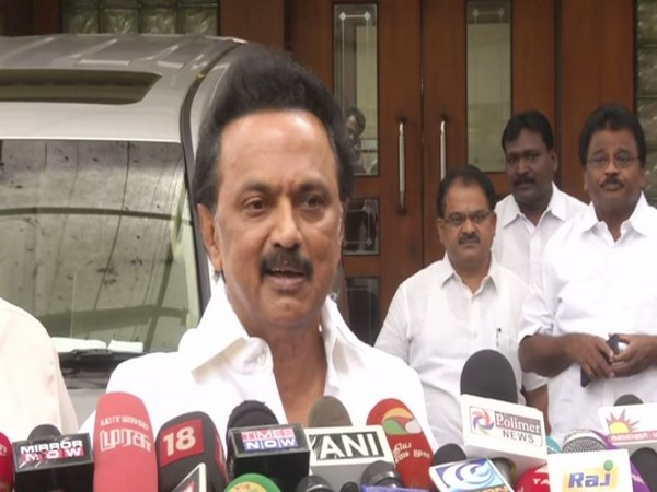 DMK chief MK Stalin speaking to media persons in Chennai on Friday. Photo/ANI