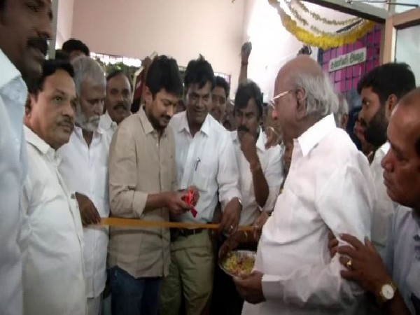 Udhayanidhi Stalin and Kalanidhi Veeraswamy inaugurate Veeraswamy's MP office on Wednesday.