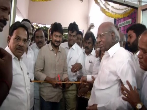 Udhayanidhi Stalin inaugurating MP Kalanidhi Veerasamy's office. Photo/ANI