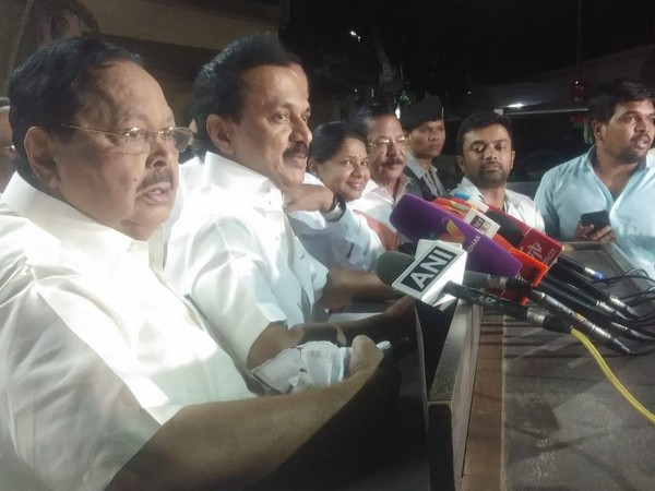 DMK chief MK Stalin speaking to reporters in Chennai on Wednesday. Photo/ANI