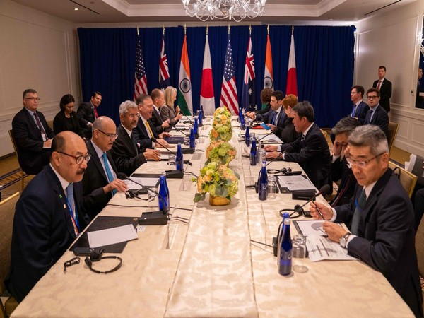 External Affairs Minister S. Jaishankar, US Secretary of State Michael Pompeo, and Japanese politician Toshimitsu Motegi during talks in New York (Picture Credits: Michael Pompeo/Twitter)
