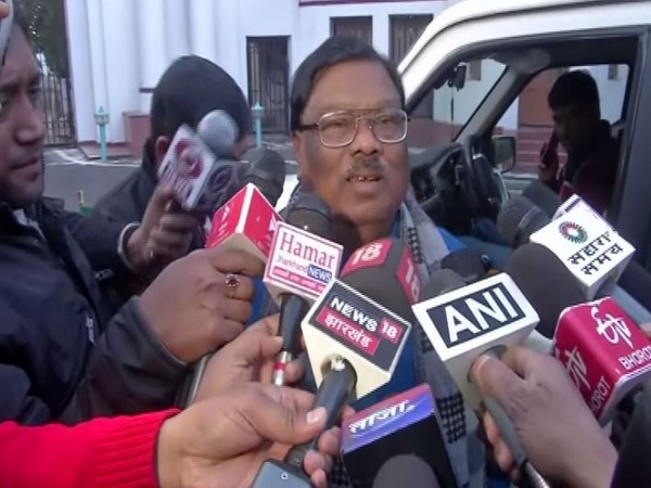 Jharkhand Assembly's Pro-tem Speaker Stephen Marandi talking to reporters in Ranchi on Tuesday. Photo/ANI