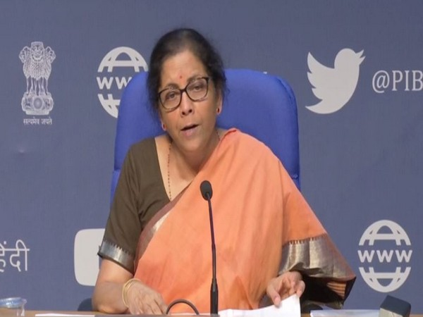 Finance Minister Nirmala Sitharaman speaking at a press conference in New Delhi on Thursday. Photo/ANI