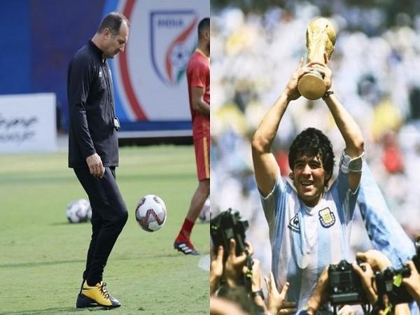 Indian football team head coach Igor Stimac  and Argentina legend Diego Maradona (Image: AIFF)