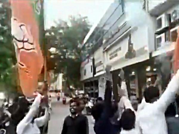Supporters firing celebratory gunshots in air