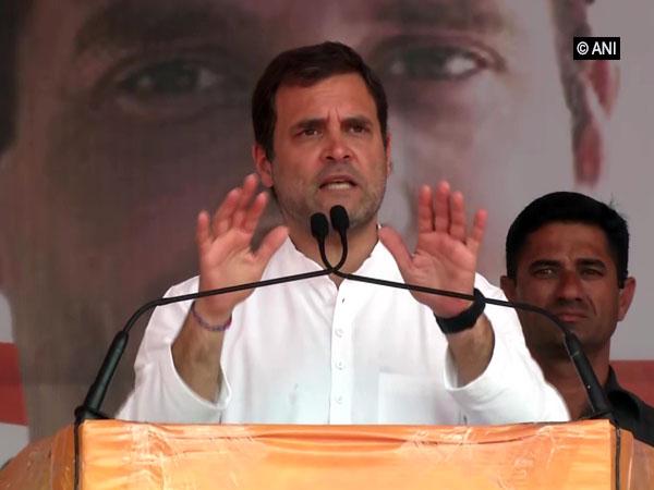 Congress president Rahul Gandhi addressing an election rally in Punjab on Monday. Photo/ANI