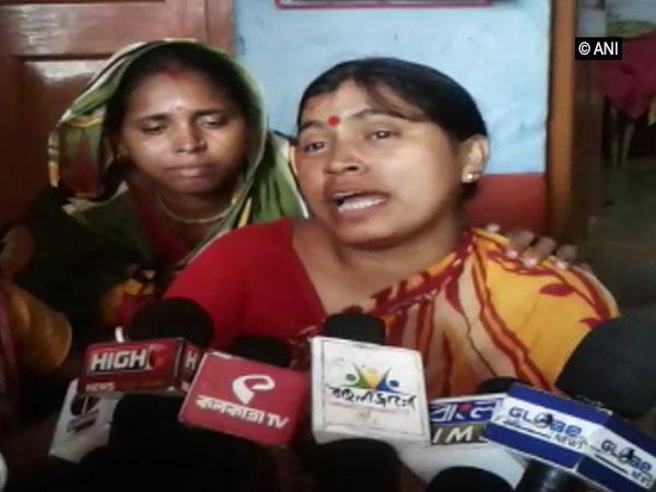 Padma Mandal, wife of deceased BJP worker Pradip Mandal speaking to reporters in North 24 Parganas, West Bengal.