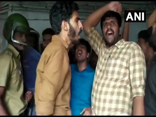 Visual of the clash which broke out between SFI members and police in Kerala on Friday. (Photo/ANI)