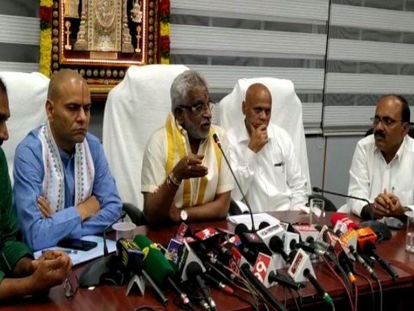Tirumala Tirupati Devasthanams (TTD) Trust Board Chairman YV Subbareddy speaking at a press conference on Sunday. photo/ANI