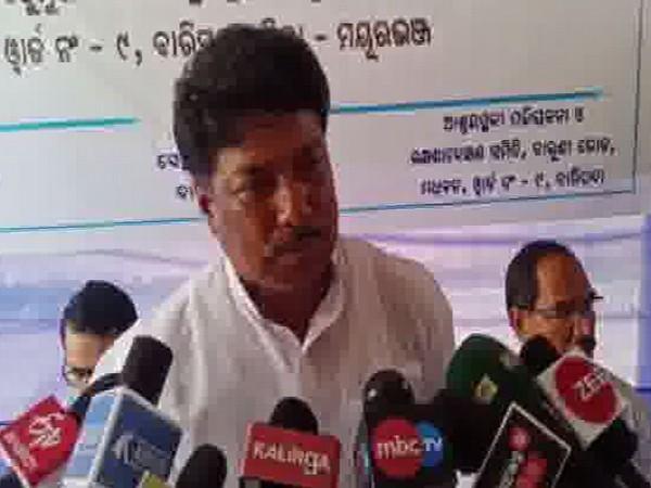 Odisha's Revenue and Disaster Management Minister Sudam Marandi while speaking to media persons in Mayurbhanj, Odisha on Friday. Photo/ANI