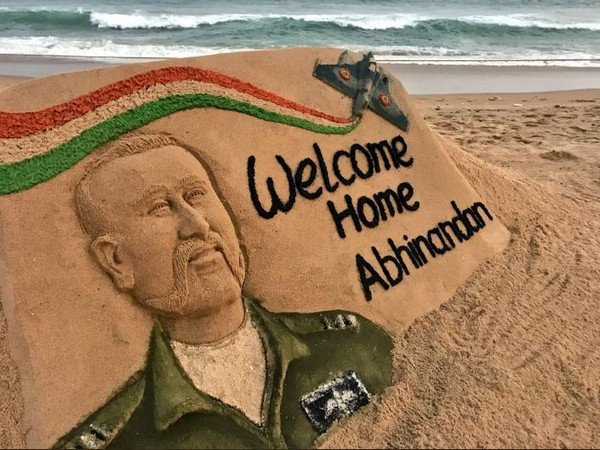 Sand art created by Sudarsan Pattnaik.