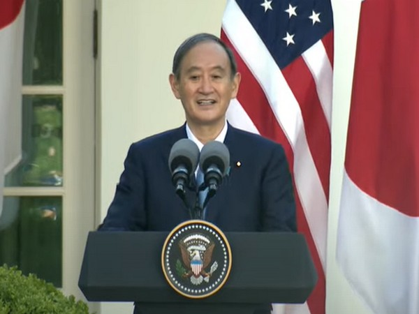Japan Prime Minister Yoshihide Suga speaking on Friday after holding a in-person meeting with US President Joe Biden.