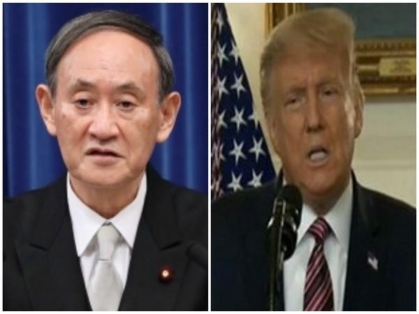 Japan's Prime Minister Yoshihide Suga (L) and US President Donald Trump (R)