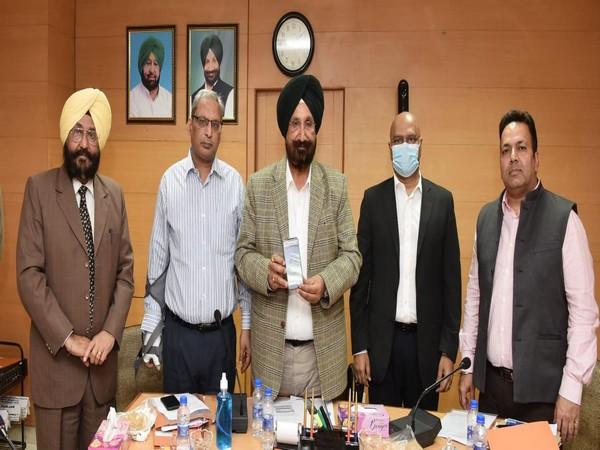 S. Sukhjinder Singh Randhawa with Financial Commissioner Cooperation K. Siva Prasad, Registrar Cooperative Societies Vikas Garg, MD PADB Charandev Mann, and Chairman PADB Kamaldeep Singh. (Photo/ANI)