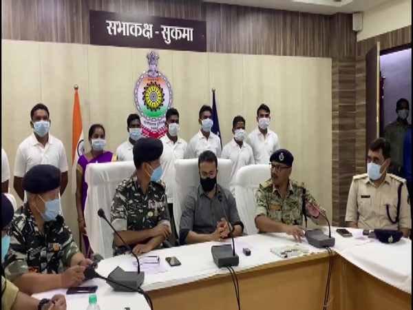 Sukma District Collector Vinit Nandanwar with SP and DIG CRPF. (Photo/ANI)