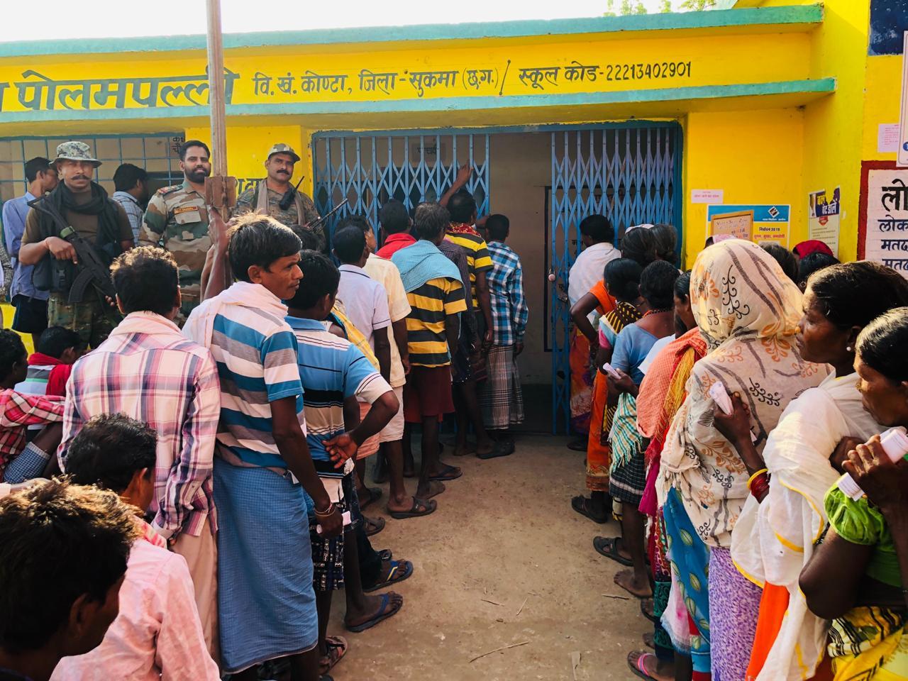 Visuals from polling site in Sukma, Chhattisgarh.