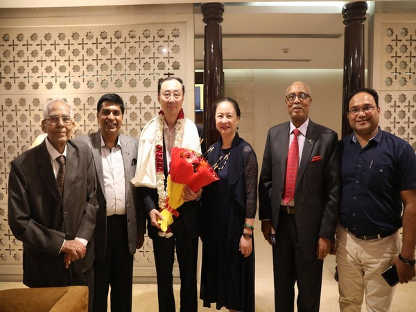 Newly-appointed Chinese Ambassador to India Sun Weidong with officials upon his arrival in New Delhi on Sunday. (Picture Credits: Weidong's Twitter)