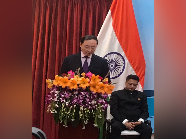 Chinese ambassador to India Sun Weidong addressing the media in New Delhi