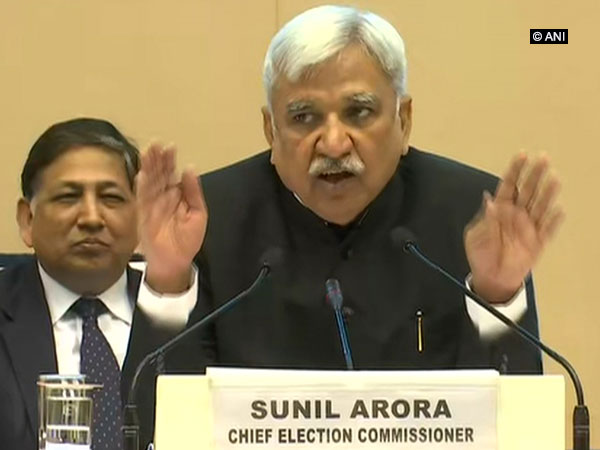 Chief Election Commissioner Sunil Arora during a press conference in New Delhi on Sunday. Photo/ANI