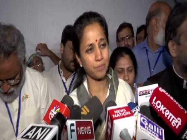NCP leader Supriya Sule speaking to media in Mumbai on Friday. (Photo/ANI)