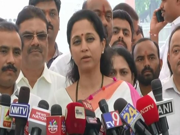NCP leader Supriya Sule talking to reporters in Nagpur on Tuesday. Photo/ANI