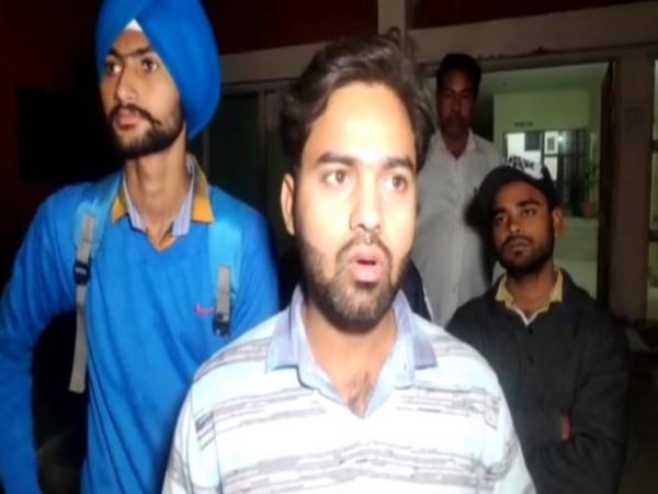 Suraj, the victim student, talking to reporters in Kurukshetra. Photo/ANI