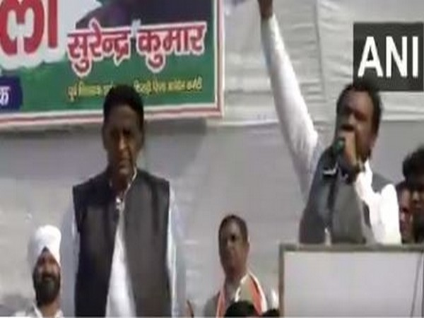 Congress former MLA Surender Kumar's rally in New Delhi on Sunday. (Photo/ANI)