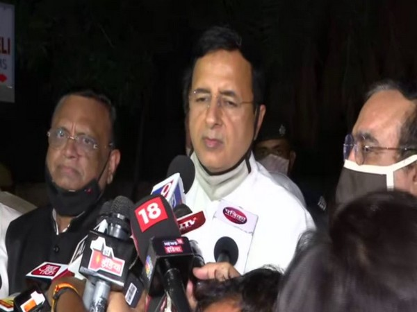 Congress leader Randeep Singh Surjewala speaking to reporters on Monday. Photo/ANI